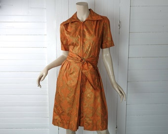 60s Orange & Gold Dress / Romper- 1960s- Hippie / Boho- Cotton Dress- Small / Medium