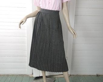 40s / 50's Pleated Gray Skirt- Pin Up Secretary- Extra Small- 1950s