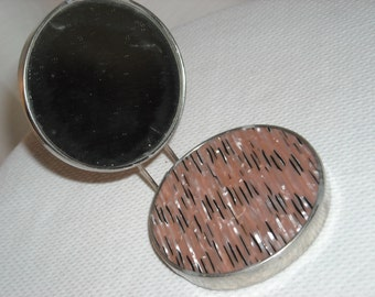Exquisite vintage Treville compact mirror - pink, gray & silver mother of pearl case