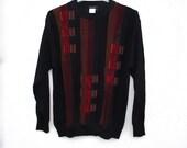 90s Geometric Patterned Sweater Lorenzo Tavernari Italy Pullover Wool Acrylic Sweater XL Large, Winter Jumper Men Colorful Black Stripe