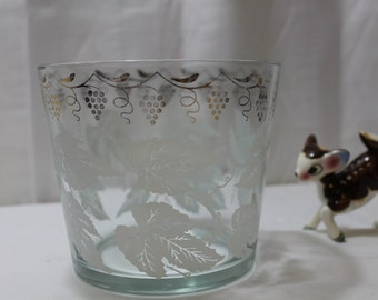 Vintage Glass Ice Bucket With Grapes & Leaf Design