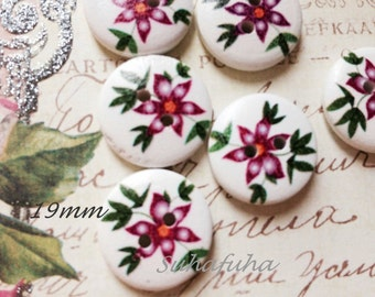 6 Wood Buttons Printed Florals 19mm- B06 for Embellishment Crafts