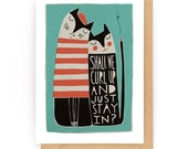Shall We Curl Up - Greeting Card (2-26C)