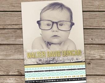 Birth Announcement : Printable Walter  Baby Boy Custom Photo Birth Announcement