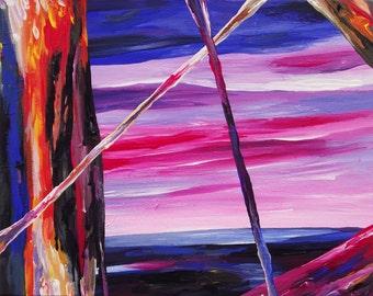 Bob Ross's Nightmare abstract acrylic painting