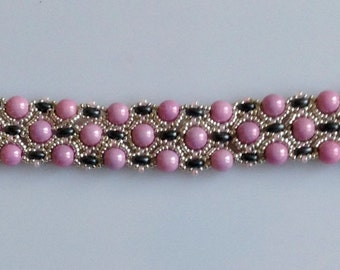 Embroidered bracelet in pink, silver and black beads, DBJO, Made in Sweden