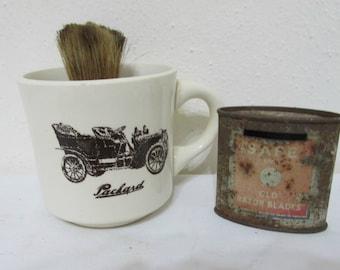 Vintage Car Shaving Mug and Brush and an Old Blades Tin