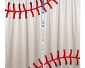 Custom Window Curtain or Valance, Stitched Baseball Theme- Any Size - Any Colors - Any Pattern