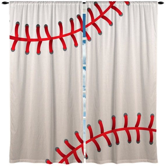 Custom Window Curtain Or Valance Stitched Baseball Theme Any