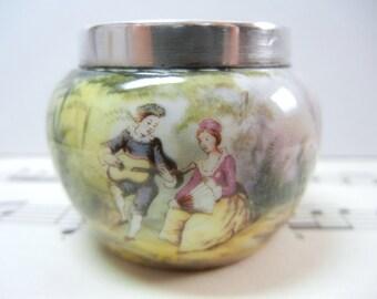 Porcelain open salt with Sterling Silver rim / Victorian scene / serving / salt cellar / salt dip / Holiday table / Victorian / gift