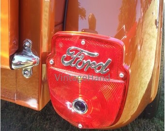Ford Truck Tail Light Digital download / Vintage 1956 Ford / copper brown red chrome / Man Cave / Photograph / Art download / Home Decor