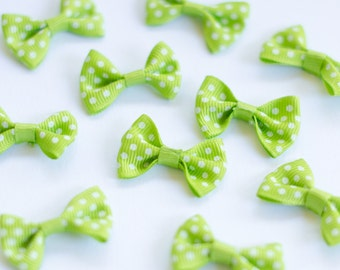 Tiny Lime Green Polka Dot Bows (10pk)