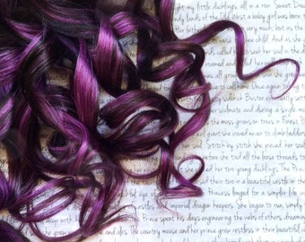 """the C H O C O L A T E . R A S P B E R R Y 100 percent human hair Full Set clip in extensions 18/20"""" brown purple Chocolate Raspberry"""
