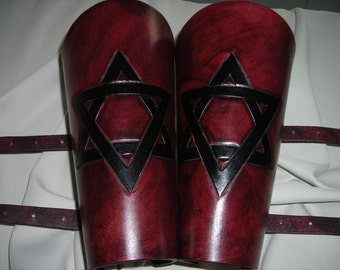 Star of david design with buckles leather bracers, gauntlets, armor