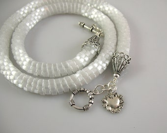 White Satin Bead Crocheted Wedding Necklace