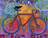 Raven Bike Gallery Wrap Canvas Print - Peace Out