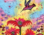 Hummingbird Gallery Wrapped Canvas Print - One Lives In An Enchanted Garden