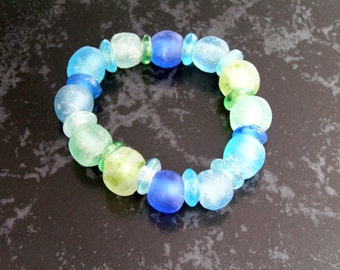 SALE - ECO Recycled Glass Multi Color Sea Glass Bead Bracelet on Stretch Cord