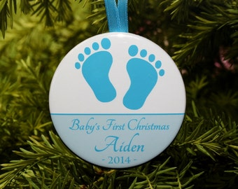 Baby's First Christmas Ornament - Blue & White Footprints - Personalized C25