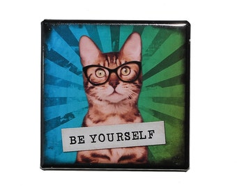 Be Yourself - Pinback Button Badge 2 inch - Cat with Glasses