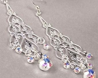 Crystal Bridal Earrings, Wedding Earrings, Silver Teardrop and Swarovski Crystal Bridal Earrings, Wedding Jewelry - Augustus WE0152