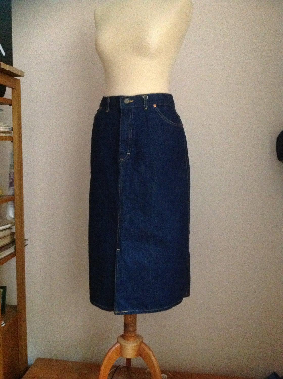 80s denim skirt midi skirt pencil skirt below the knee
