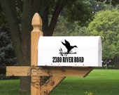 Mail Box Number with Duck Scene Vinyl Decal