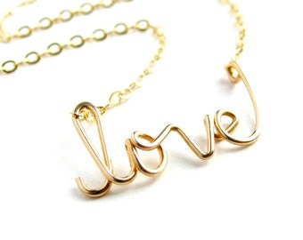 Gold love Necklace. 14k Gold Fill Cursive Script Love necklace