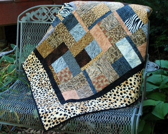 Handmade Cotton Twin Size Bed Quilt Wild Animal Safari Quilt  62 by 94 dorm bedding blanket Quiltsy Handmade