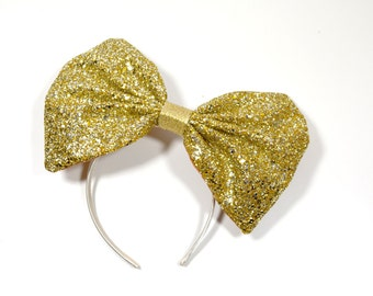 Blonde Gold Large Glitter Bow Fascinator Headband