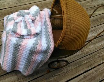 Gray Pink White Handmade Crochet Blanket Hat