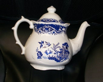 Price Kensington Potteries Blue Willow Teapot Made In England