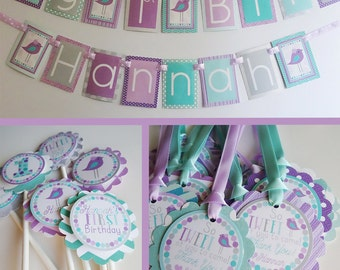Girly Birdie Chick Birthday Party Decorations Fully Assembled Aqua Purple