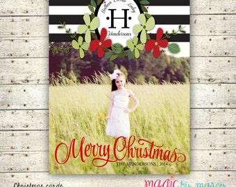 Glam Monogram Merry Christmas Printable Photo Christmas Cards