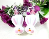 Easter Bunny Earrings, Easter Earrings, Lampwork Bead Earrings, Rabbit Earrings, Easter Jewelry, Animal Earrings, Spring - Hippity Hop Bunny
