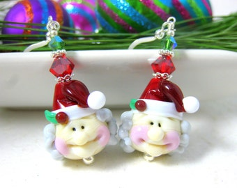 Mrs Claus Earrings, Christmas Earrings, Santa Earrings, Holiday Jewelry, Fun Earrings, Christmas Jewelry, Lampwork Earrings, - Mrs Claus