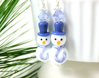 Purple Snowman Earrings, WInter Earrings Christmas Earrings, Fun Holiday Earrings, Lampwork Earrings, Christmas Jewelry - Chilly & Billy