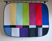 off the air // tv test screen quilt // modern wall hanging // handmade by lauren palmer // ready to ship