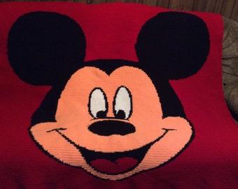 Mickey Mouse Face Crochet afghan blanket throw.   So cute
