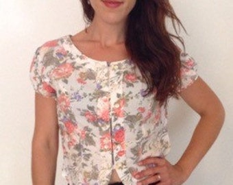 French vintage 1980s floral green white pink and top blouse - medium M