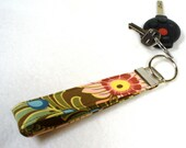 Wristlet Key Fob Amy Butler Fabric Ginger Bliss Dahlia Curry Fabric Key Chain Key Ring Fabric Brown Pink Blue