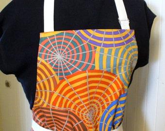 Philip Jacobs Fabric Womens Apron Full Apron Chefs Apron Adjustable Apron Ochre Parasols Striped Umbrellas Kaffe Fassett Handmade MTO