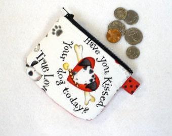 Valentine's Dalmatian Pups Coin Purse Dogs Puppies Mini Coin Purse Zipper Change Purse Kissed Dog Hearts Handmade
