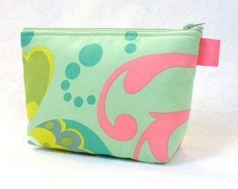 Large Cosmetic Bag Amy Butler Fabric Zipper Pouch Makeup Bag Cotton Zip Pouch Paradise Garden Mint Green Pink Chartreuse Floral