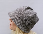 Irish Herringbone Tweed Cloche Hat - Monochrome
