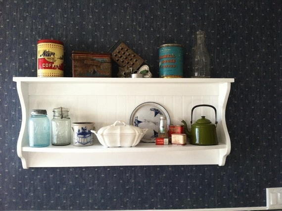 Primitive Plate Rack Wall Shelf Country Wood Display Plate And