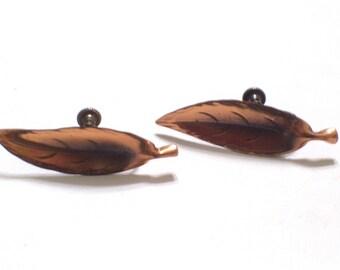 Vintage NYE Earrings, Copper and Sterling Silver Earrings, Hand Crafted Willow Leaf Screwback Earrings