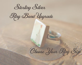 Sterling Silver Ring Band Upgrade for Scrabble Tile and House Rings - Choose Your Size