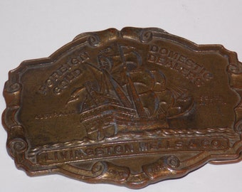 Vintage Brass Livingston Wells Gold Dealer Belt Buckle