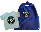 Luchador Negro - Black Mexican Wrestler Toddler T-Shirt & Blue Cape Combo